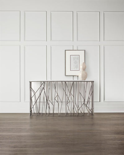 the Hooker Furniture  transitional 5578-85001-SLV living room occasional console table is available in Edmonton at McElherans Furniture + Design
