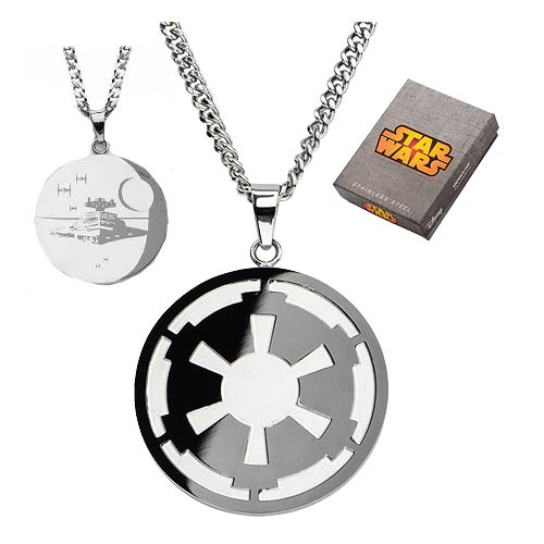 Star Wars Galactic Empire Symbol and Death Star Etched Necklace - Official Unisex :: Mental XS Online