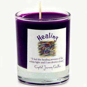 Crystal Journey Candles Dark Purple Healing Herbal Soy Votive Glass Candle 2½""