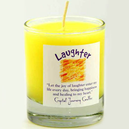 Crystal Journey Candles Yellow Laughter Herbal Soy Votive Glass Candle 2½