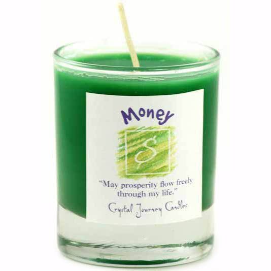 Crystal Journey Candles Green Money Herbal Soy Votive Glass Candle 2½