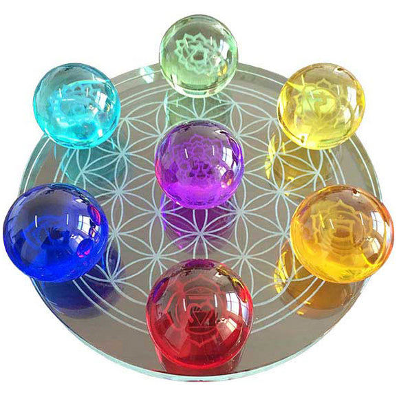7-Chakra Flower of Life Crystal Balls 55mm - set of 7