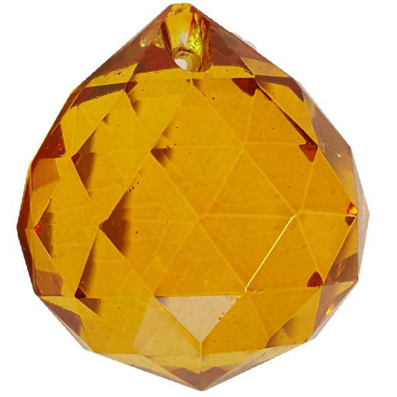 Amber faceted Crystal Ball 30mm