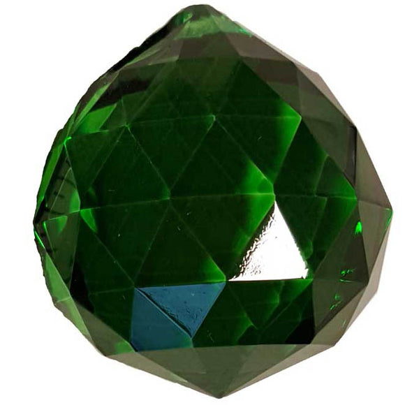 Green faceted Crystal Ball 30mm