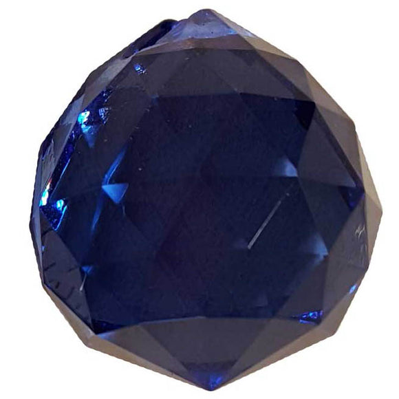 Blue faceted Crystal Ball 30mm