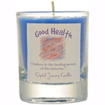 Crystal Journey Candles Blue Good Health Herbal Soy Votive Glass Candle 2½