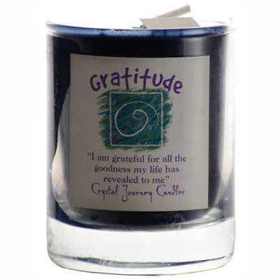 Crystal Journey Candles Dark Blue Gratitude Herbal Soy Votive Glass Candle 2½
