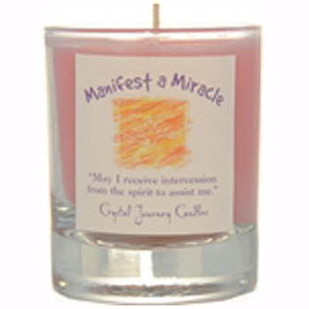 Crystal Journey Candles Pink Manifest A Miracle Herbal Soy Votive Glass Candle 2½