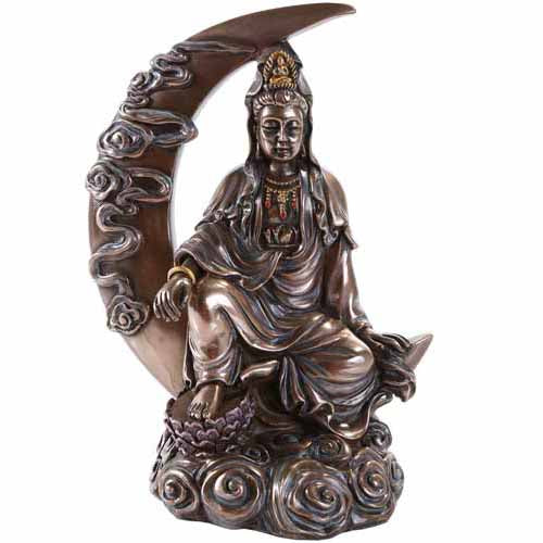 Guanyin Goddess of Compassion Cold-Cast Bronze Statue 8¼