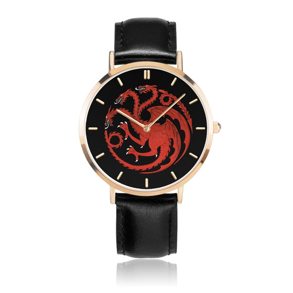 Game of Thrones TARGARYEN Crest Dragons Red, Gold & Black Leather Strap Water-resistance Quartz Watch :: Mental XS Online
