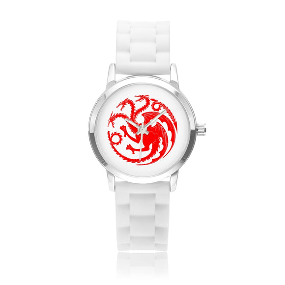 Game of Thrones TARGARYEN Crest Dragons Red, Silver & White Silica Gel Strap Water-resistance Quartz Kids Watch (with Blank Dial) :: Mental XS Online