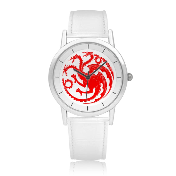 Game of Thrones TARGARYEN Crest Dragons Red, Silver & White Leather Strap Double-layer Concise Dial Quartz Watch :: Mental XS Online