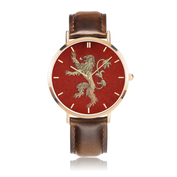 Game of Thrones LANNISTER Crest Lion Red, Gold & Brown Leather Strap Water-resistance Quartz Watch :: Mental XS Online