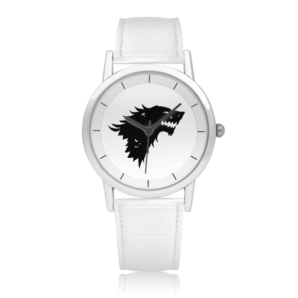 Game of Thrones STARK Crest Direwolf Silver & White Leather Strap Double-layer Concise Dial Quartz Watch :: Mental XS Online