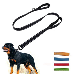 Heavy Duty Double Handle Dog Leash -  Reflective 6 foot - For Control  Training - 5 Colors