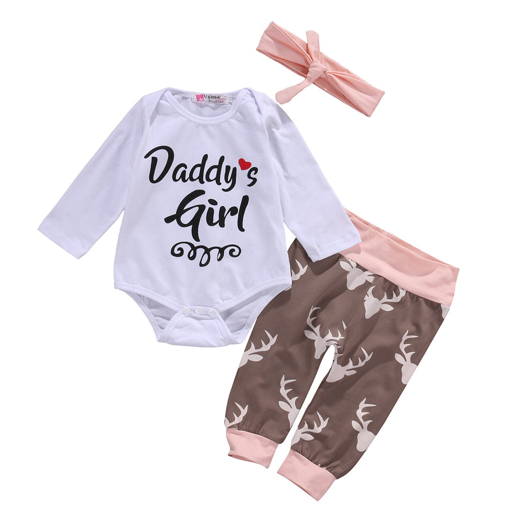 "Girls NZ ""DADDYS GIRL"" Onesie + Pants Set (0 - 18 Months)"