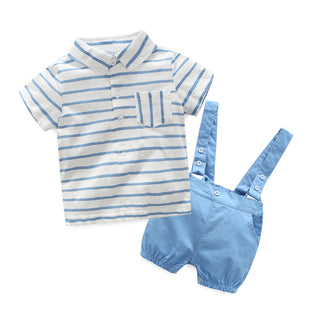 Boys NZ Blue Striped T-shirt with Shorts 2PCs Set (3 - 24 Months)