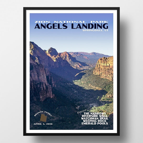 Zion National Park Poster-Angels Landing (Personalized)