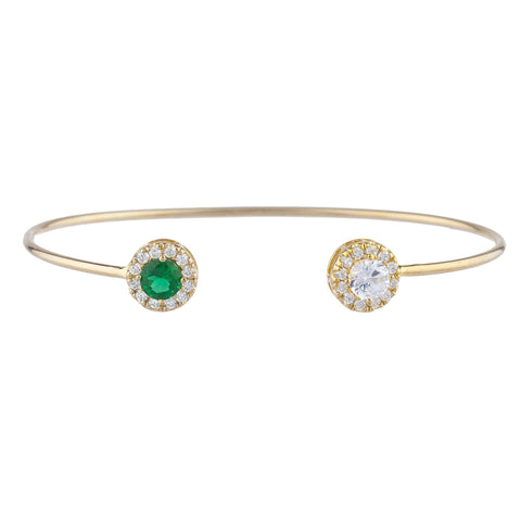 14Kt Gold White Sapphire & Emerald Halo Design Bangle Bracelet