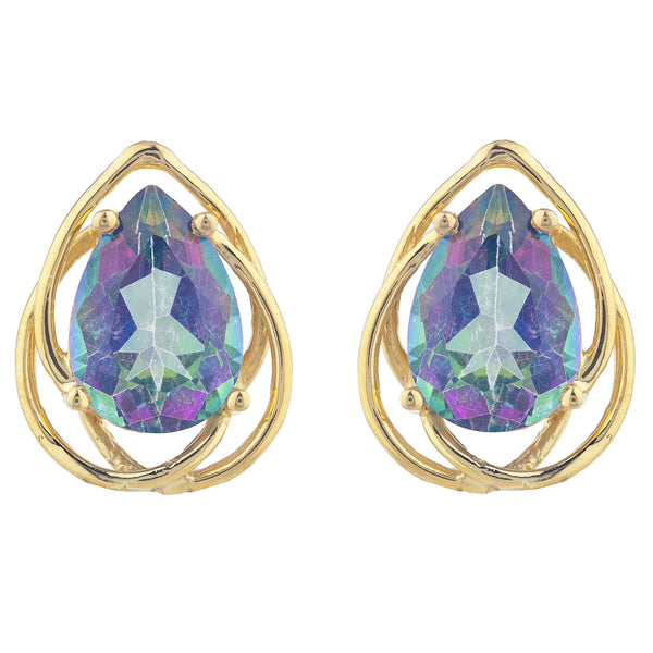 14Kt Gold 4 Ct Natural Mystic Topaz Pear Teardrop Design Stud Earrings