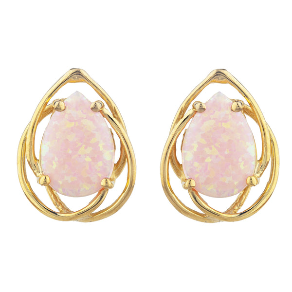 14Kt Gold Pink Opal Pear Teardrop Design Stud Earrings