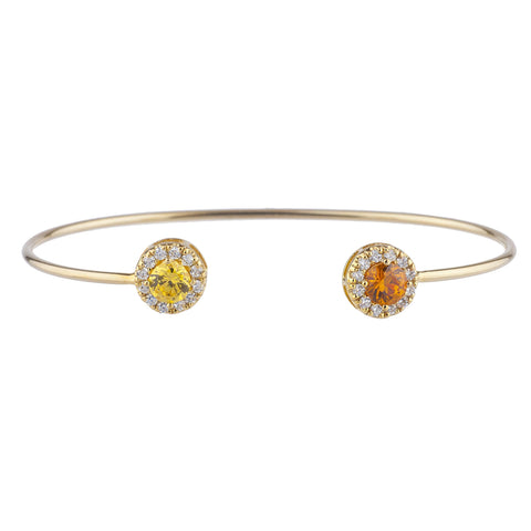 14Kt Gold Orange & Yellow Citrine Halo Design Bangle Bracelet