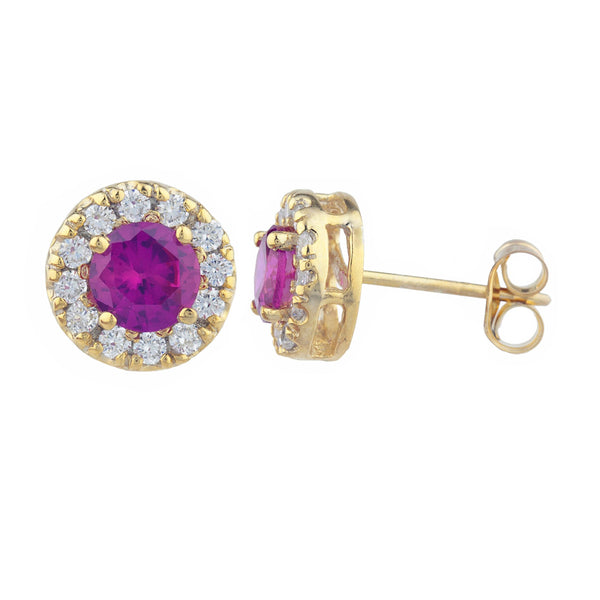 14Kt Gold 1 Ct Created Ruby Halo Design Stud Earrings