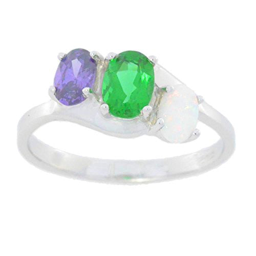 Amethyst Emerald & Opal Oval Ring .925 Sterling Silver