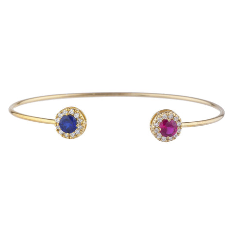 14Kt Gold Created Ruby & Blue Sapphire Halo Design Bangle Bracelet