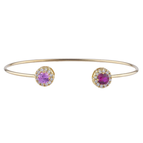 14Kt Gold Created Ruby & Pink Sapphire Halo Design Bangle Bracelet