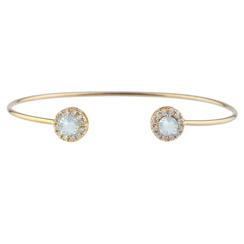 14Kt Gold Aquamarine Halo Design Bangle Bracelet