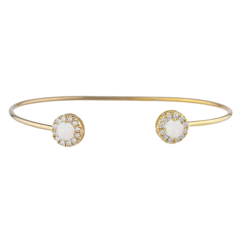 14Kt Gold Opal Halo Design Bangle Bracelet