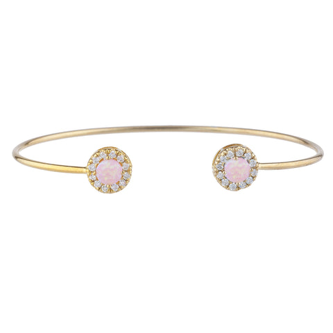 14Kt Gold Pink Opal Halo Design Bangle Bracelet