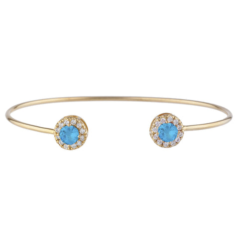 14Kt Gold Swiss Blue Topaz Halo Design Bangle Bracelet