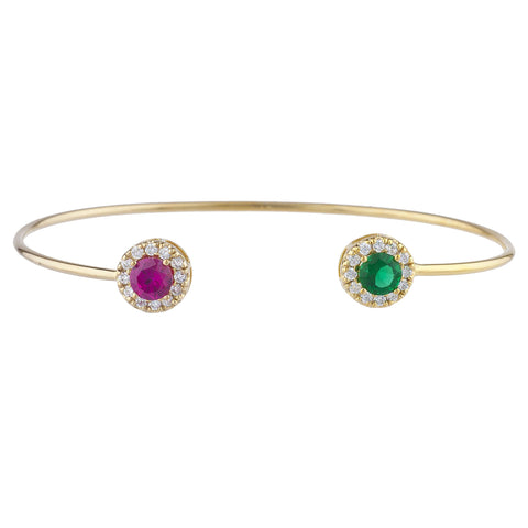 14Kt Gold Created Ruby & Emerald Halo Design Bangle Bracelet