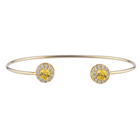 14Kt Gold Yellow Citrine Halo Design Bangle Bracelet