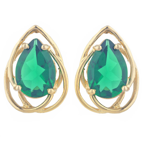 14Kt Gold 4 Ct Emerald Pear Teardrop Design Stud Earrings