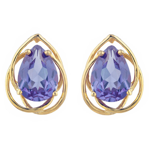 14Kt Gold 4 Ct Alexandrite Pear Teardrop Design Stud Earrings