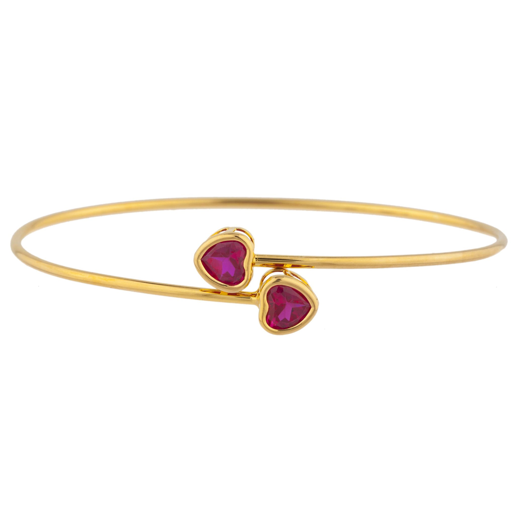 14Kt Yellow Gold Plated Created Ruby Heart Bezel Bangle Bracelet