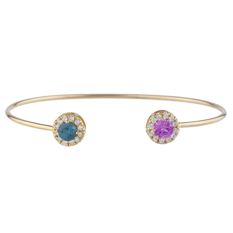 14Kt Gold Pink Sapphire & London Blue Topaz Halo Design Bangle Bracelet