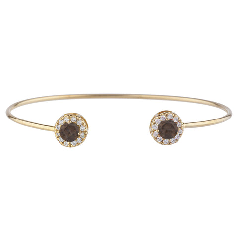 14Kt Gold Genuine Smoky Topaz Halo Design Bangle Bracelet