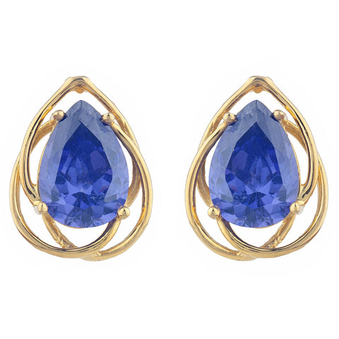 14Kt Gold 4 Ct Tanzanite Pear Teardrop Design Stud Earrings