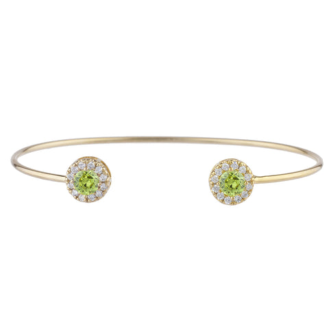 14Kt Gold Peridot Halo Design Bangle Bracelet