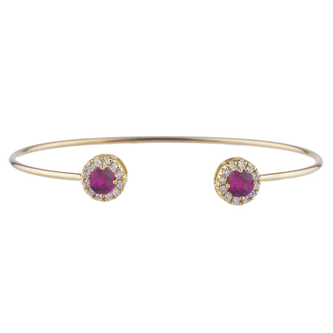 14Kt Gold Created Ruby Halo Design Bangle Bracelet