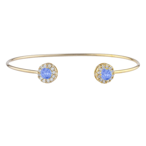 14Kt Gold Tanzanite Halo Design Bangle Bracelet
