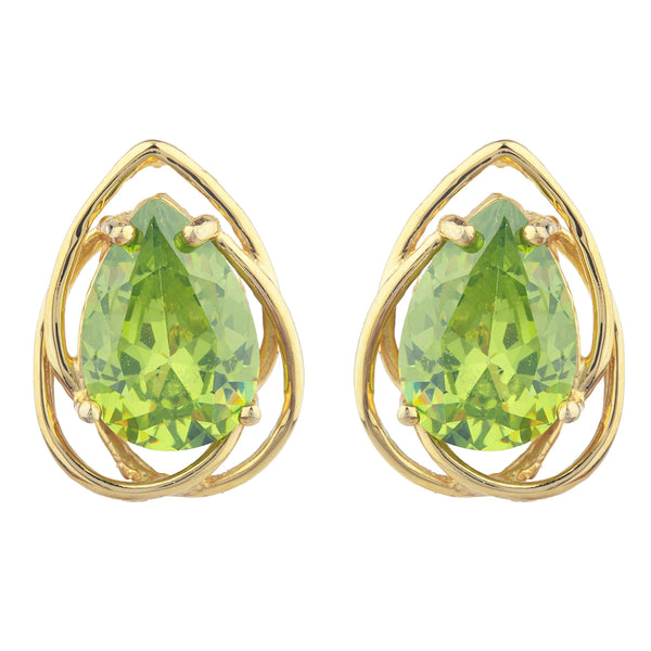 14Kt Gold 4 Ct Peridot Pear Teardrop Design Stud Earrings