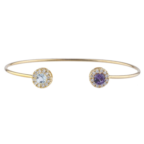 14Kt Gold Aquamarine & Amethyst Halo Design Bangle Bracelet