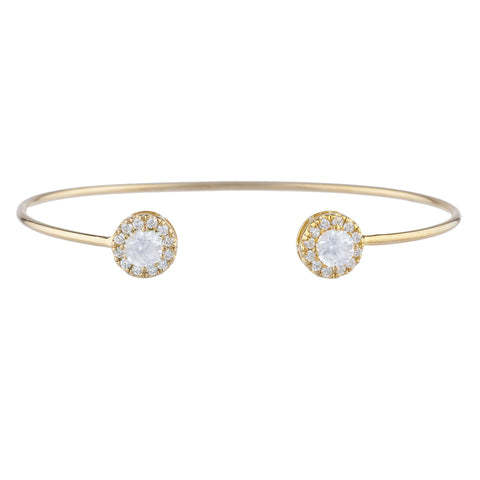 14Kt Gold White Sapphire Halo Design Bangle Bracelet