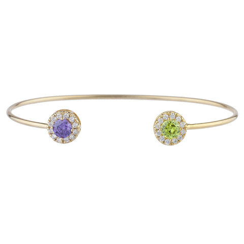 14Kt Gold Alexandrite & Peridot Halo Design Bangle Bracelet
