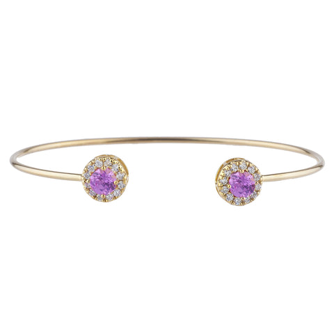 14Kt Gold Pink Sapphire Halo Design Bangle Bracelet